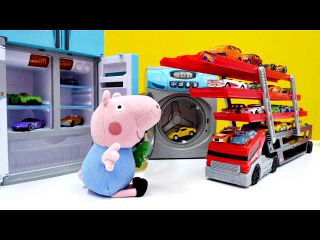 Peppa Wutz Video Tolle Spielzeugautos Wir helfen Schorsch beim Aufräumen