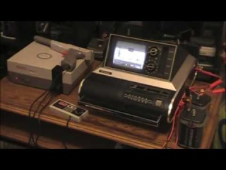 Panasonic TR-475 Portable TV and NES playing Mario and Duck Hunt