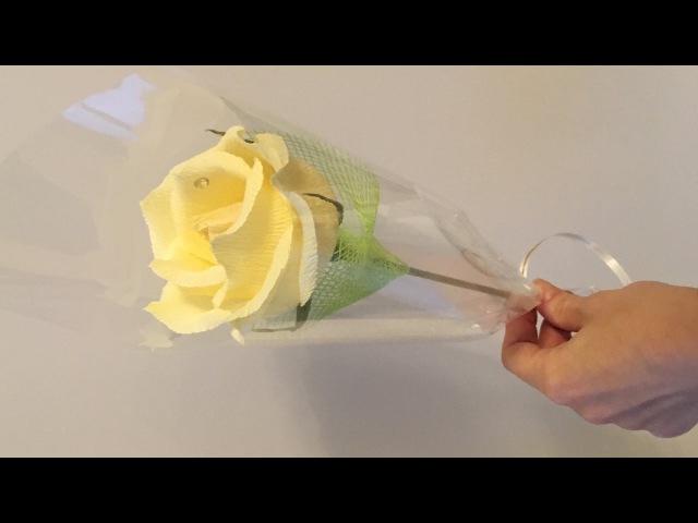 Роза из конфет в индивидуальной упаковке