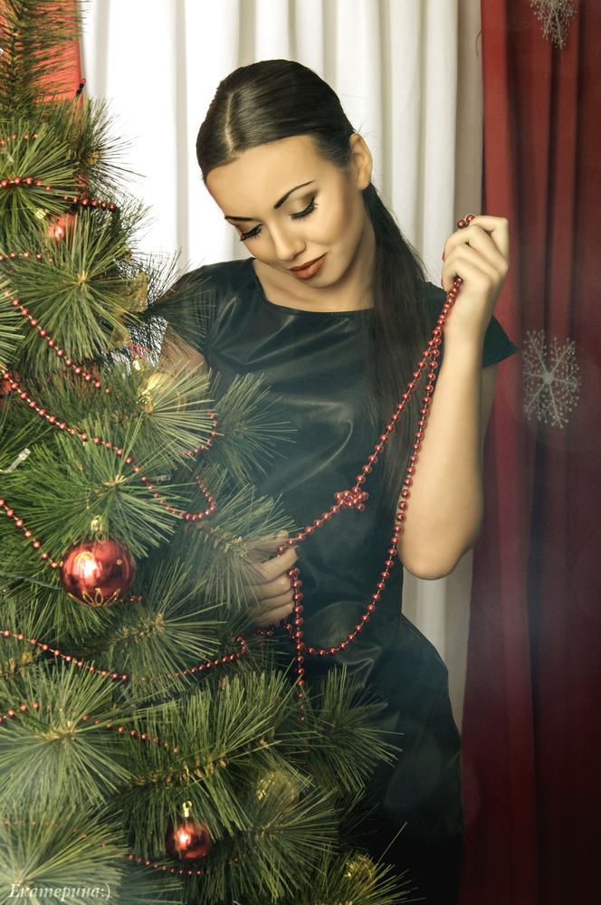 новогоднее домашнее фото девушки соблазнительными позами