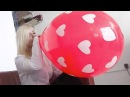 "Girl blow to pop big Qualatex 16"" balloon"