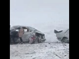 Страшное ДТП на трассе Караганда-Астана.