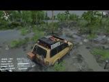 Spintires™ карта Небесные врата и  Toyota Land Cruiser 80 VX с якорем в виде гаражного прицепа