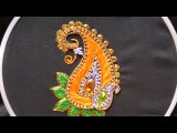 Hand embroidery designs .Aari style embroidery for ghagras, dresses, sarees and blouses.