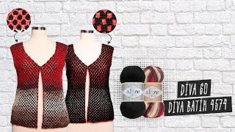 Alize Diva ile Tığ İşi Çift Taraflı Yelek Yapımı Making Crochet Work Double Sided Vest