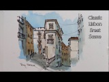 Line and wash Watercolor Demonstration. Classic Lisbon street in loose style. Peter Sheeler