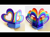 Pop up card (twin hearts) - learn how to make a popup heart greeting card - EzyCraft