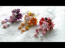 D.I.Y: Tsumami Kanzashiつまみ細工 -bunny and purple flower hair stick in CHIRIMEN,kimono fabric-Tutorial
