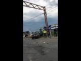 Авария перед заправкой газпром при въезде в город, пробка