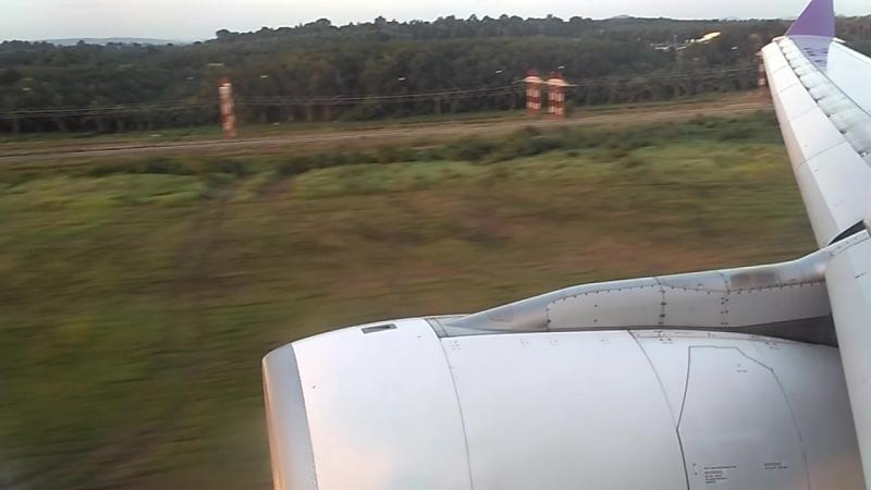 Посадка А-330 Тайских авиалиний в а/порту Краби