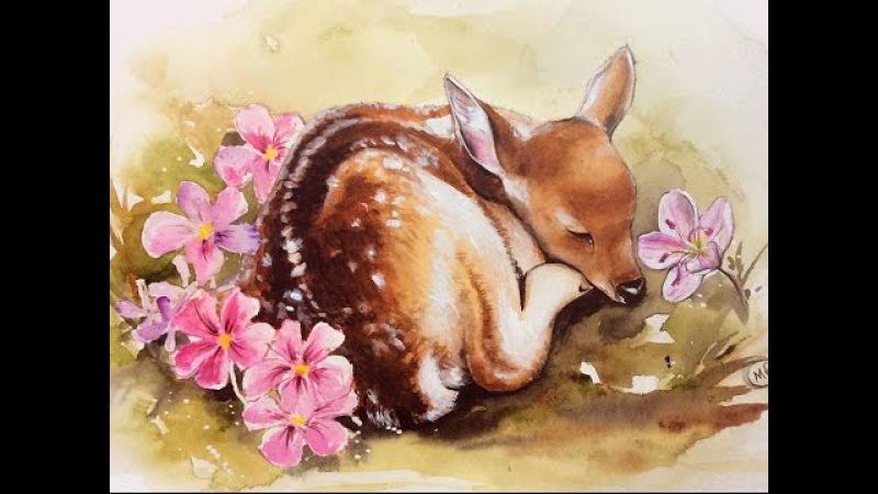 Watercolor Deer Painting Demonstration