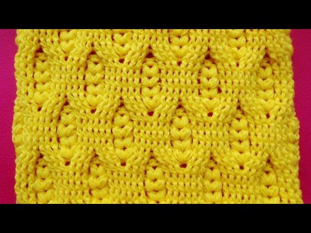 Hermoso Punto a crochet ganchillo con Relieves y puntos garbanzos para mantitas de bebe