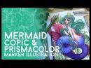 Full Marker Mermaid Illustration Copic and Prismacolor Markers Jacquelin deleon