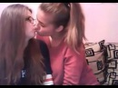Young girls kiss on cam