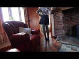 Crossdresser Lucy wearing Fishnet Seamed Nylons & Pleated Skirt