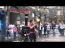 Street performance, FIRE juggling, SCOTTISH HUMOR in Edinburgh, Scotland