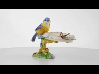 Blue Yellow Tanager Bird on a Tree with Butterfly Trinket Box by Keren Kopal