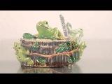 Box with Frogs Faberge style Trinket Box by Keren Kopal Swarovski Crystal