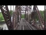 (HD) Crossing the Mississippi Railroad Bridge at La Crosse Great View