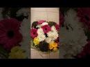 Букет из хризантем, желтых роз и гербер.