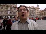 Чехия Ле Пен сторонники ставят Макрон на макаронную пластину в Праге.