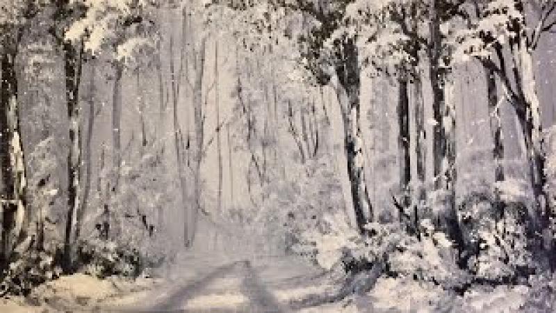 Зимний Лес - 2 Краски!! Акрил- Очень легко! Winter Woodland in Acrylics. Two colours. Very Easy