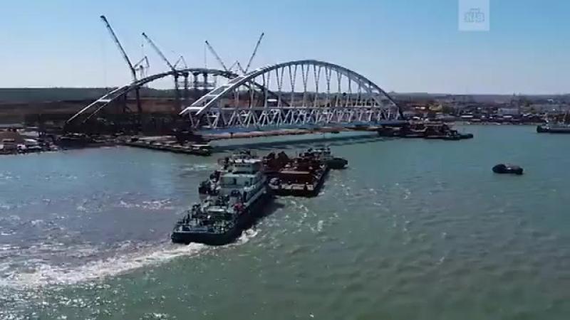 Уникальная спецоперация — на мост в Керченском проливе устанавливают арку-гигант.