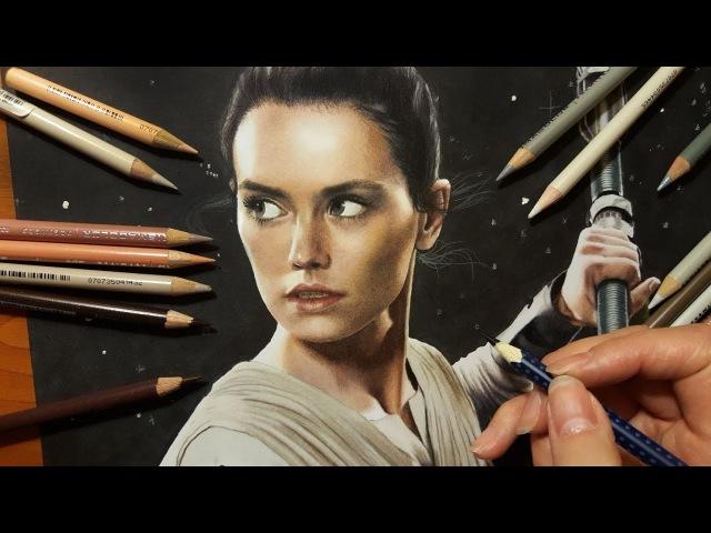 Speed Drawing: Daisy Ridley as Rey in Star Wars   Jasmina Susak