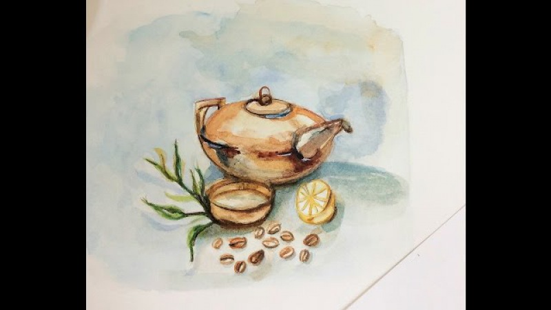 How to paint tea pot in watercolors (stilllife painting)