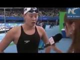 Ну очень эмоциональная китайская пловчиха!))) Радуется победе