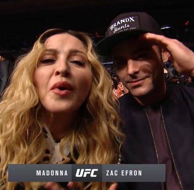 Мадонна и  Зак Эфрон на  UFC 205