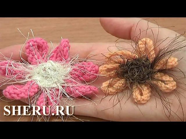 Knitted Flower Pattern Урок 6 Вязаные цветы на спицах