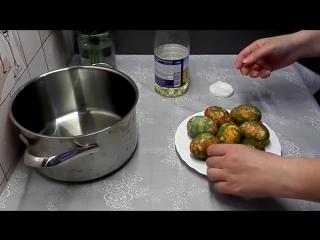 Красим яйца зеленкой - Пасхальные яйца - Как покрасить яйца