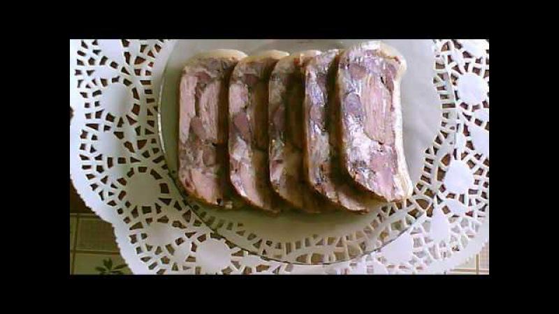 Домашняя ветчина из свиной рульки с говяжьим мясом