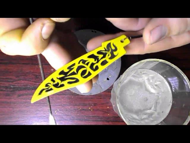 Травление узора на лезвии раскладного ножа