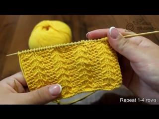 Узор спицами «Платочная вязка с протяжками» _ Gulls and Garter knitting pattern - YouTube (360p)