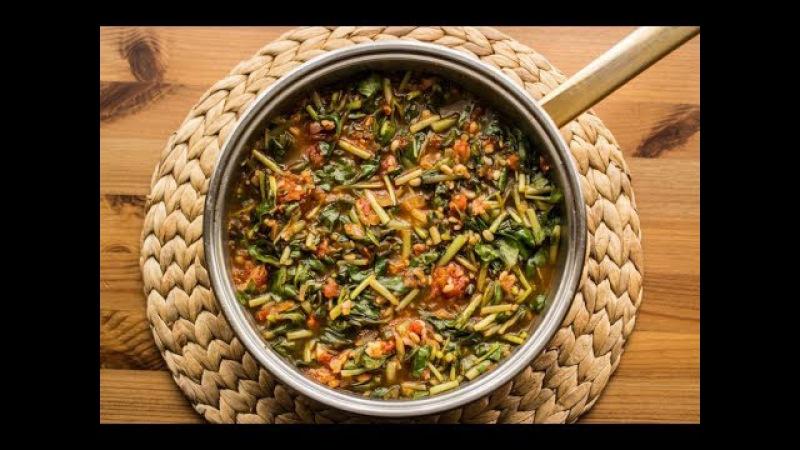 Турецое блюдо из зелени портулак. Semizotu yemeği