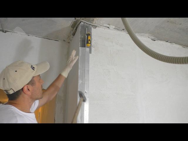 Формирование внешнего угла при штукатурке стен гипсовым составом Работа с рейками