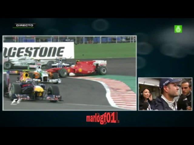 Accidente Fernando Alonso Rubens Barrichello Crash GP Belgica 2010