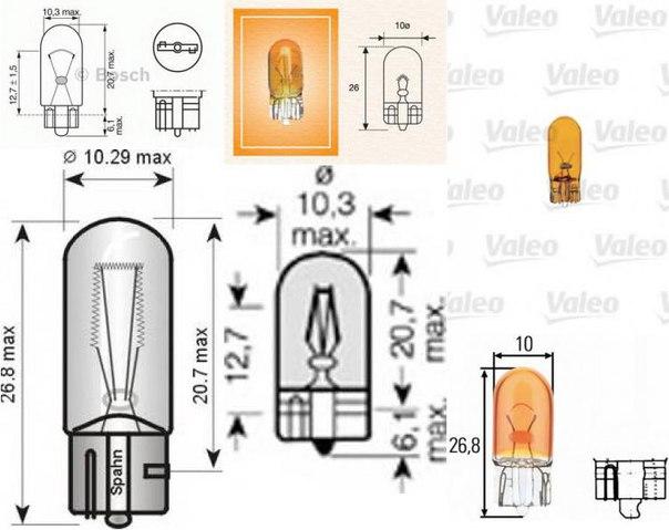 Лампа накаливания, стояночные огни / габаритные фонари; Лампа накаливания, стояночный / габаритный огонь для AUDI A2 (8Z0)