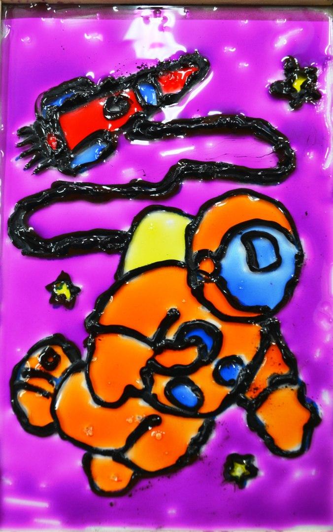 витражный рисунок про космос - мастер-класс