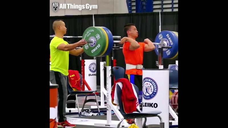 Wu Jingbiao 56kg China front squatting 170kg triple bodyweight displaying almost Kostova levels of strength