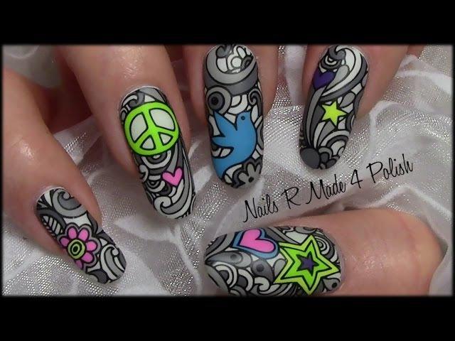 Love Peace Hippie Graffiti Nail Art Design / Advanced Stamping Comic Nails