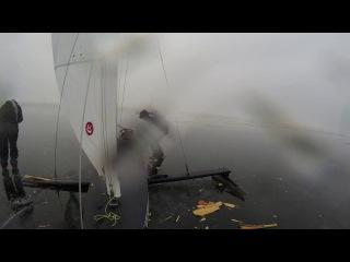 XV Monotype Ice Yacht EC 2017, A-fleet start 4. L-2 and S-16 crash.