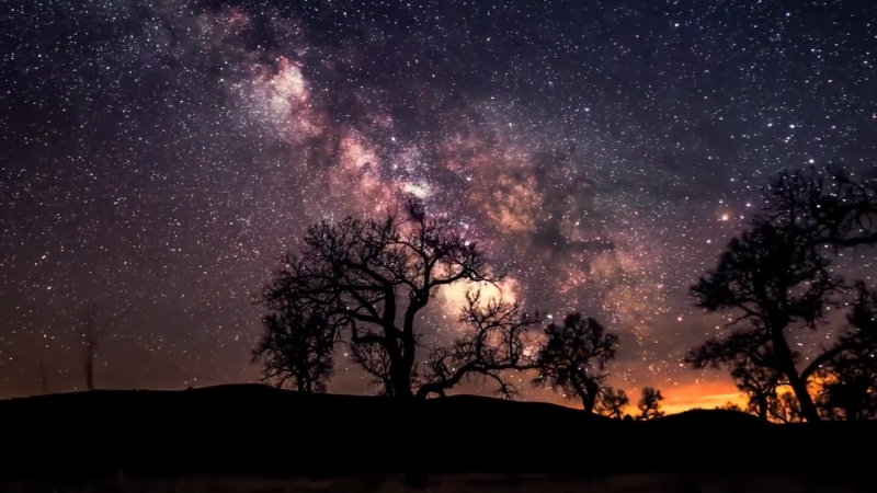 КРАСИВОЕ ЗВЕЗДНОЕ НЕБО TIMELAPSE - BEAUTIFUL STARRY SKY FULL HD