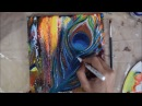 Swipe Abstract Technique | How to paint Peacock feathers | Acrylic Pour | Fluid Art | Jasvir Kambo