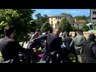 Recep Tayyip Erdogan's Supporters Fight Protesters in US Washington Turkish Embassy (May 16, 2017)