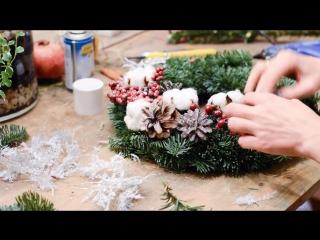 МК по флористике: рождественский венок из ели (нобилиса)