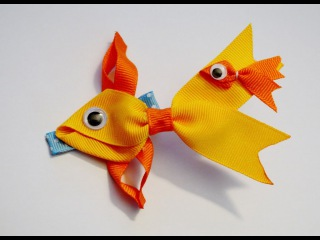 GOLDFISH Fish Ribbon Sculpture Zoo Animal Hair Clip Bow DIY Free Tutorial by Lacey