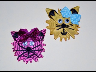 KITTY CAT KITTEN Ribbon Sculpture Zoo Animal Hair Clip Bow DIY Free Tutorial by Lacey